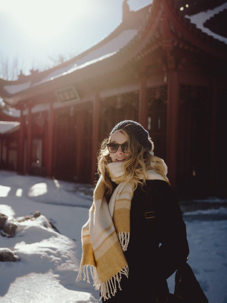 montreal, photographe, portrait femme, jardin botanique, jardin de chine, hiver