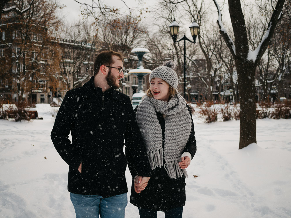 montreal seance engagement couple hiver neige