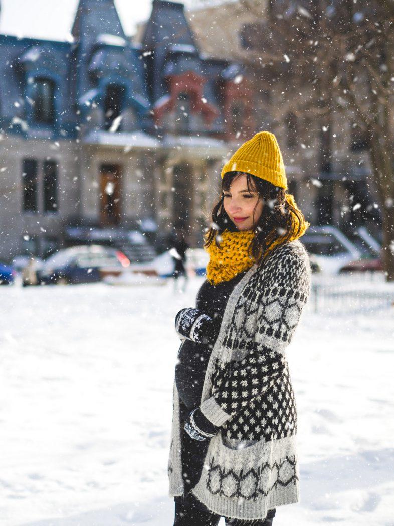 séance photo maternité, montréal, grossesse, enceinte, pregnant, portrait, hiver, neige, photographe de famille